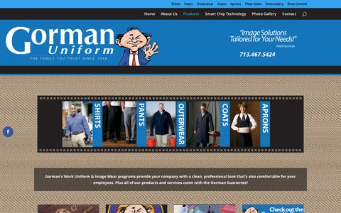 Screenshot of Products Page gormanuniform.com - Products - captured Nov. 13, 2016