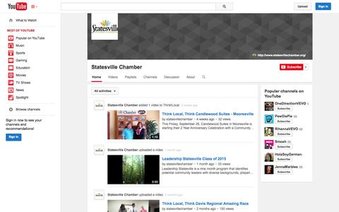Screenshot of YouTube Page youtube.com - Statesville Chamber  - YouTube - captured Oct. 22, 2014