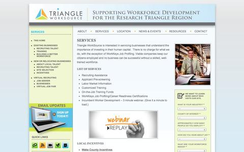 Screenshot of Services Page triangleworksource.com - Services |  Triangle Work Source - captured Oct. 7, 2014