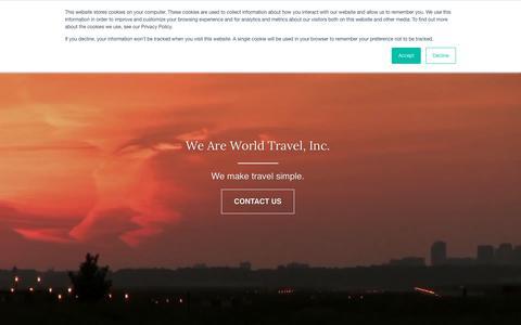 Screenshot of Home Page worldtravelinc.com - World Travel Inc - Home - captured Oct. 20, 2018