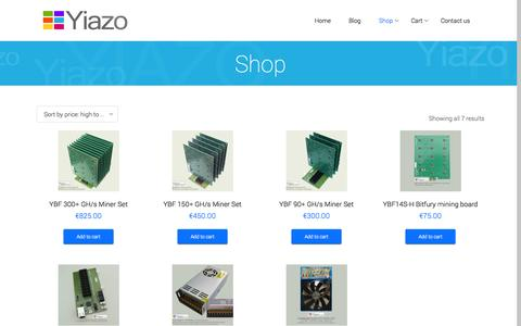 Screenshot of Home Page yiazo.com - Yiazo | is there for you – crypto currency services and miner products - captured Sept. 30, 2014