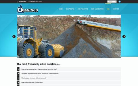 Screenshot of FAQ Page quarrico.com.au - Aggregates quarry suppliers Bowen Basin Quarrico Products - captured Oct. 3, 2014