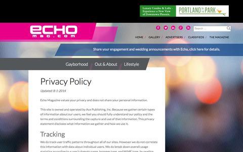 Screenshot of Privacy Page echomag.com - Privacy Policy - Echo Magazine - captured Nov. 1, 2014