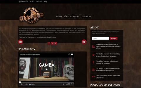 Screenshot of Home Page gatopretoclassics.com - Gato Preto Classics | House Of Brazilian Tube Amplification - captured Sept. 29, 2014