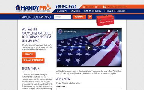 Screenshot of Jobs Page handypro.com - Start Your Career Today at HandyPro! - captured Jan. 25, 2020
