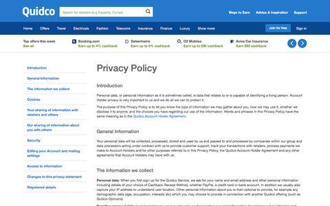 Screenshot of Privacy Page quidco.com - Quidco - The UK's #1 Cashback Site - captured Feb. 1, 2018