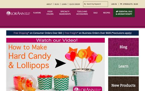 Screenshot of Home Page lorannoils.com - LorAnn Oils | Essential Oils, Candy Flavoring and Baking Extracts - captured May 11, 2017