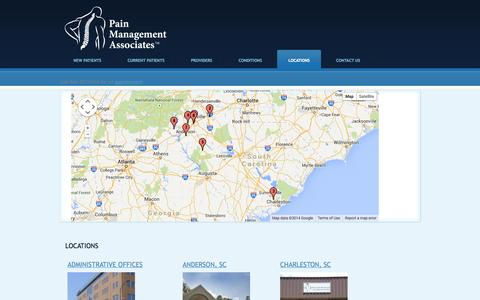 Screenshot of Locations Page painmanagementassociates.org - Locations   Pain Management Associates - captured Sept. 27, 2014