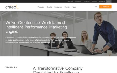 Screenshot of About Page criteo.com - About Us | Criteo - Performance marketing that works at scale | Criteo - captured Dec. 17, 2015