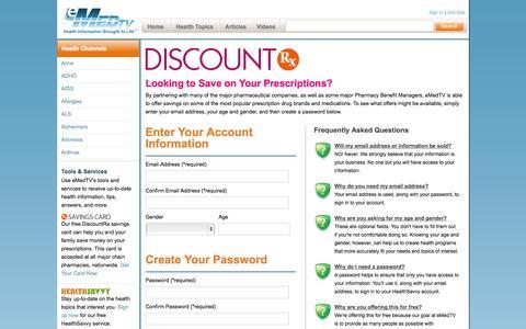 Screenshot of Signup Page emedtv.com - eMedTV - DiscountRx Sign Up - captured Sept. 19, 2014