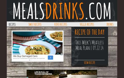 Screenshot of Home Page mealsdrinks.com - Meals and Drinks - captured Sept. 23, 2014