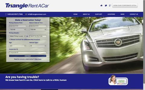 Screenshot of Home Page trianglerentacar.com - Home - Triangle Rent A CarTriangle Rent A Car | Where is Triangle Taking You? - captured Jan. 25, 2015