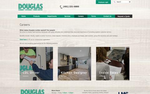 Screenshot of Jobs Page douglaslumber.com - Careers | Home Improvement | Douglas Lumber, Kitchens and Home | Smithfield RI - captured July 15, 2019