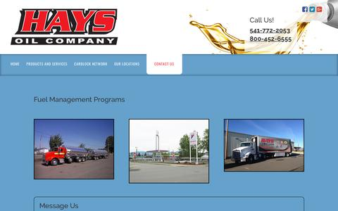 Screenshot of Contact Page haysoil.com - Contact Us, Medford, OR | Hays Oil Company - captured Sept. 27, 2018