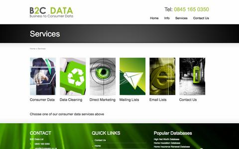 Screenshot of Services Page b2cdataltd.co.uk - Choose one of our consumer data services : B2C Data Ltd : UK Consumer Data Specialists | Business to Consumer Data : B2C Data Ltd - captured Sept. 30, 2014