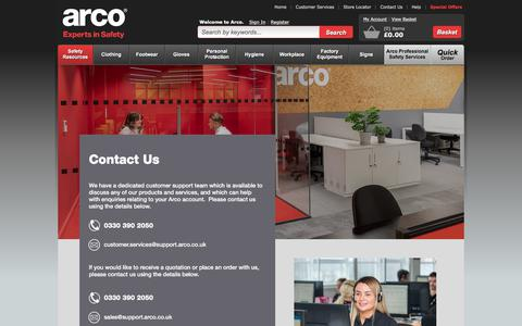 Screenshot of Contact Page arco.co.uk - Arco  - Contact Us 2018 - captured Aug. 19, 2019