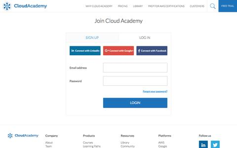 Screenshot of Login Page cloudacademy.com - Become a CloudAcademy Member, learn Cloud Computing and test your skills - captured April 23, 2016