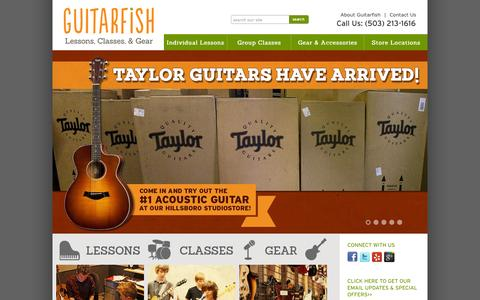 Screenshot of Home Page guitarfishmusic.com - Guitarfish Music Lessons, Classes, and Gear in the Portland Area - captured Oct. 3, 2014