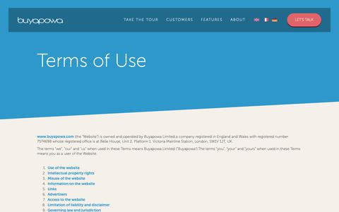 Screenshot of Terms Page buyapowa.com - Buyapowa Terms of Use - captured Nov. 28, 2018