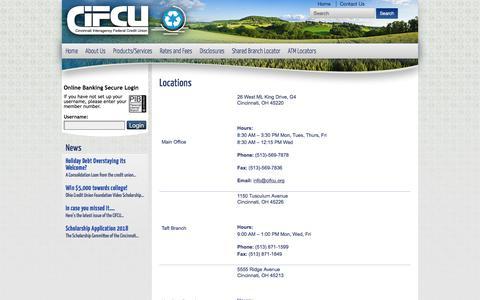 Screenshot of Contact Page Locations Page cifcu.org - Locations - Cincinnati Interagency FCU - captured Feb. 2, 2018