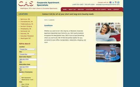 Screenshot of Locations Page corporateapartments.com - Corporate Housing at Corporate Apartments: Furnished Apartments, Serviced Apartments in Washington DC, Virginia and Maryland. || Search Locations - captured Oct. 3, 2014