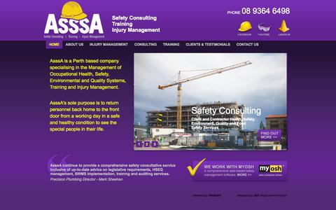 Screenshot of Home Page asssa.com.au - AsssA - AsssA are a Perth based company specialising in the Management of Occupational Health and Safety, Quality and Environmental Management. - captured Sept. 30, 2014