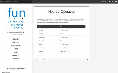 Screenshot of Hours Page fun4business.ca - Hours of Operation - FUN 4 Business, Calgary freelance web design & WordPress consulting - captured Jan. 8, 2016