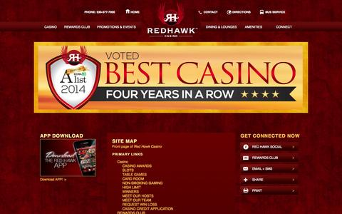 Screenshot of Site Map Page redhawkcasino.com - Site map | Red Hawk Casino - captured Sept. 22, 2014
