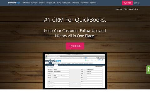 Screenshot of Home Page method.me - CRM for QuickBooks | Method:CRM is Fully Customizable to Your Business - captured Oct. 1, 2015