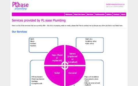 Screenshot of Services Page pl-easeplumbing.co.uk - Plumbers Newbury and West Berkshire -   Services - Pl:ease Plumbing - captured Sept. 26, 2014