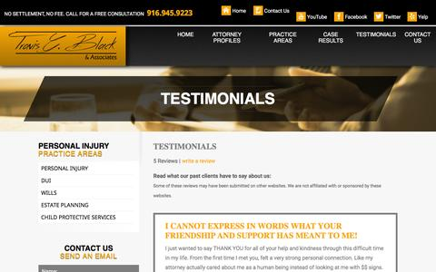 Screenshot of Testimonials Page travisblacklaw.com - Testimonials   Folsom Attorney - captured Feb. 27, 2016