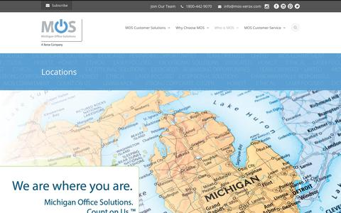 Screenshot of Locations Page mos-xerox.com - Michigan Office Solutions  Solutions (MOS) : A Xerox Company | Michigan Locations - captured Oct. 18, 2018