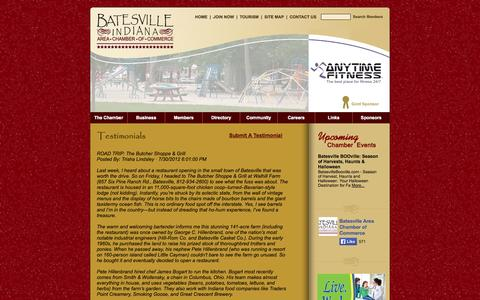 Screenshot of Testimonials Page batesvillein.com - Batesville, IN Chamber of Commerce - captured Oct. 5, 2014