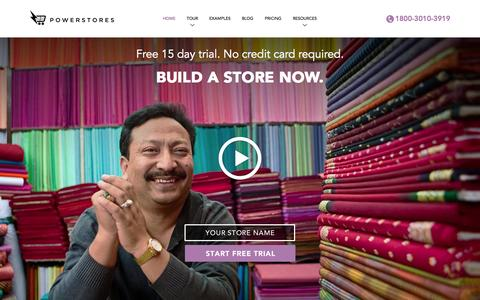 Screenshot of Home Page powerstores.in - Create a Website. Build a Store | PowerStores - captured Sept. 17, 2014