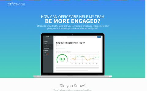 Screenshot of Landing Page officevibe.com - Employee Engagement - captured July 9, 2016