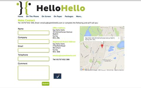 Screenshot of Contact Page Maps & Directions Page sayhellohello.com - Contact Us - captured July 23, 2016