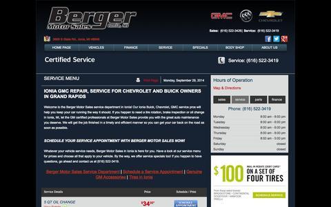Screenshot of Menu Page bergermotorsales.com - Ionia GMC Repair | Chevrolet Service | Berger Motor Sales - captured Sept. 30, 2014