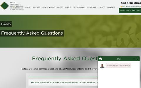 Screenshot of FAQ Page pearlaccountants.com - Nick says... - captured July 16, 2018