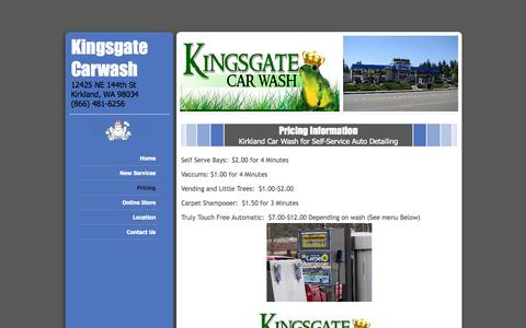 Screenshot of Pricing Page kingsgatecarwash.com - Automated car wash & auto detailing. Kirkland, WA - captured Sept. 30, 2014