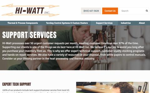 Screenshot of Support Page hiwattinc.com - Support Services - Hi-Watt Industrial Process Heaters - captured Nov. 5, 2018