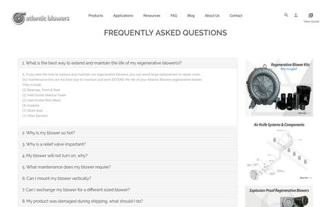 Screenshot of FAQ Page atlanticblowers.com - Industrial Blowers | Atlantic Blowers | Frequently Asked Questions - captured Oct. 4, 2018