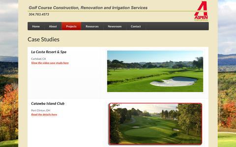 Screenshot of Case Studies Page aspen-golf.com - Case Studies | Aspen Corporation | Golf Course Construction, Renovation and Irrigation Services - captured Oct. 9, 2017