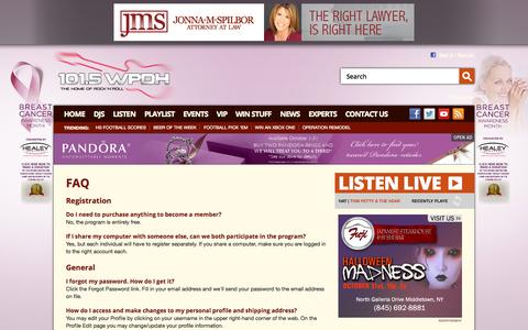 Screenshot of FAQ Page wpdh.com - 101.5 WPDH Radio – The Home of Rock and Roll – Poughkeepsie Classic Rock Radio - captured Oct. 31, 2014