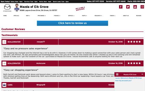 Screenshot of Testimonials Page mazdaofelkgrove.com - Customer Reviews, Testimonials - Mazda of Elk Grove - captured Oct. 17, 2018