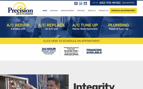 Screenshot of Home Page precisionairandheating.com - #1 AC Repair Service & Air Conditioning Company in Arizona - captured Nov. 16, 2019