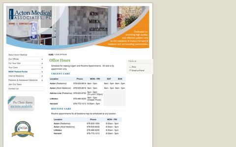 Screenshot of Hours Page actonmedical.com - Office Hours | Acton Medical Associates, P.C. - captured Nov. 20, 2016