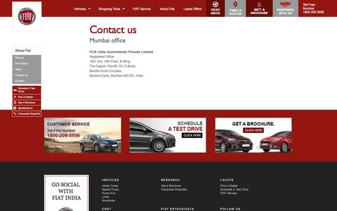 Screenshot of Contact Page fiat-india.com - Contact FIAT India - captured Sept. 23, 2018