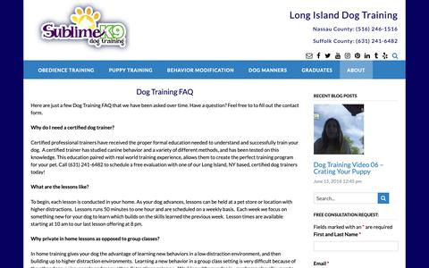 Screenshot of FAQ Page sublimek9dogtraining.com - Frequently Asked Questions | Long Island Dog Training - Sublime K9 - captured Oct. 22, 2018