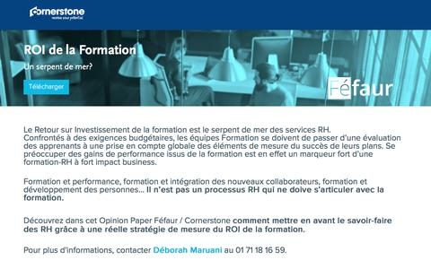 Screenshot of Landing Page cornerstoneondemand.com - Livre Blanc -  ROI de la Formation : Un serpent de mer? - captured Dec. 31, 2016
