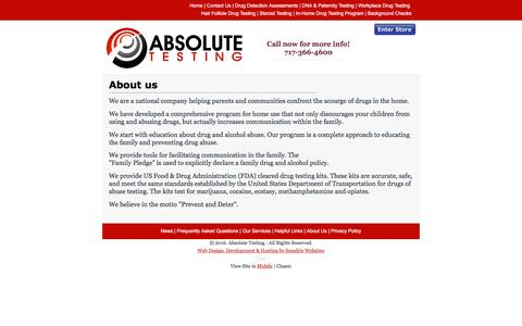 Screenshot of About Page absolutetestingservice.com - Absolute Testing - Absolute Testing - About Us - captured Feb. 5, 2016